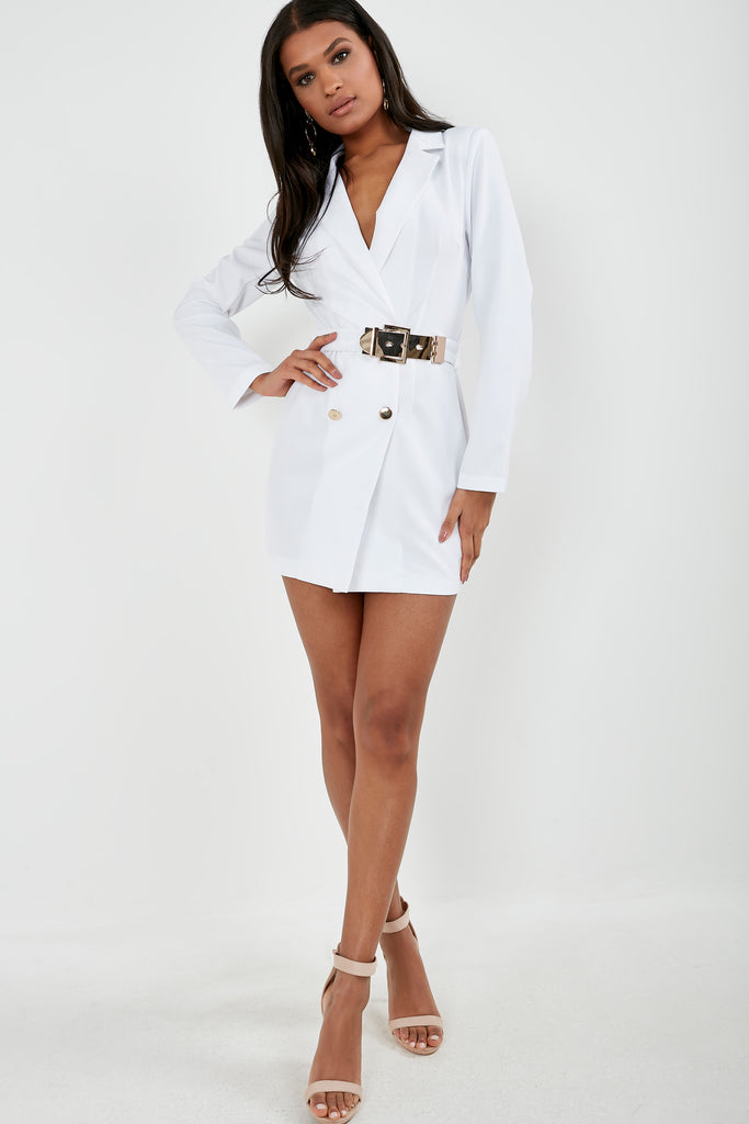 Unice White Gold Button Blazer Dress