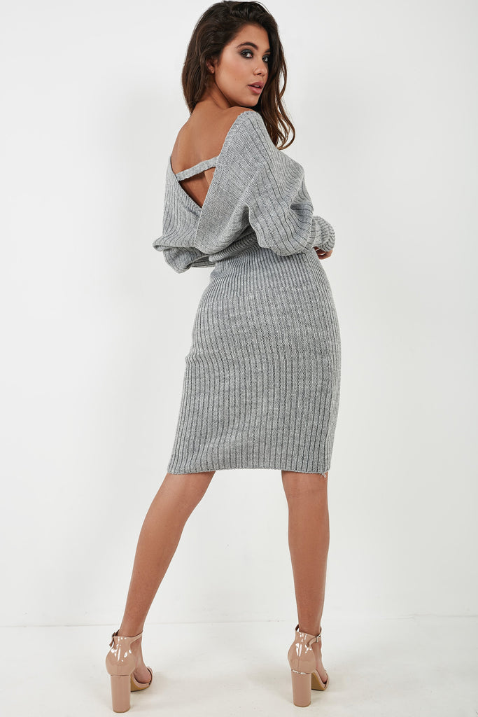 Ursa Grey Knit Midi Dress (4360270282818)
