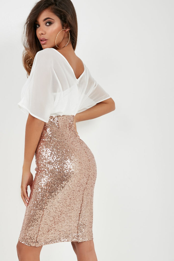 Ursie Rose Gold Contrast Sequin Dress