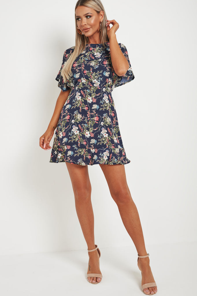 Utopia Navy Floral Cross Over Back Skater Dress