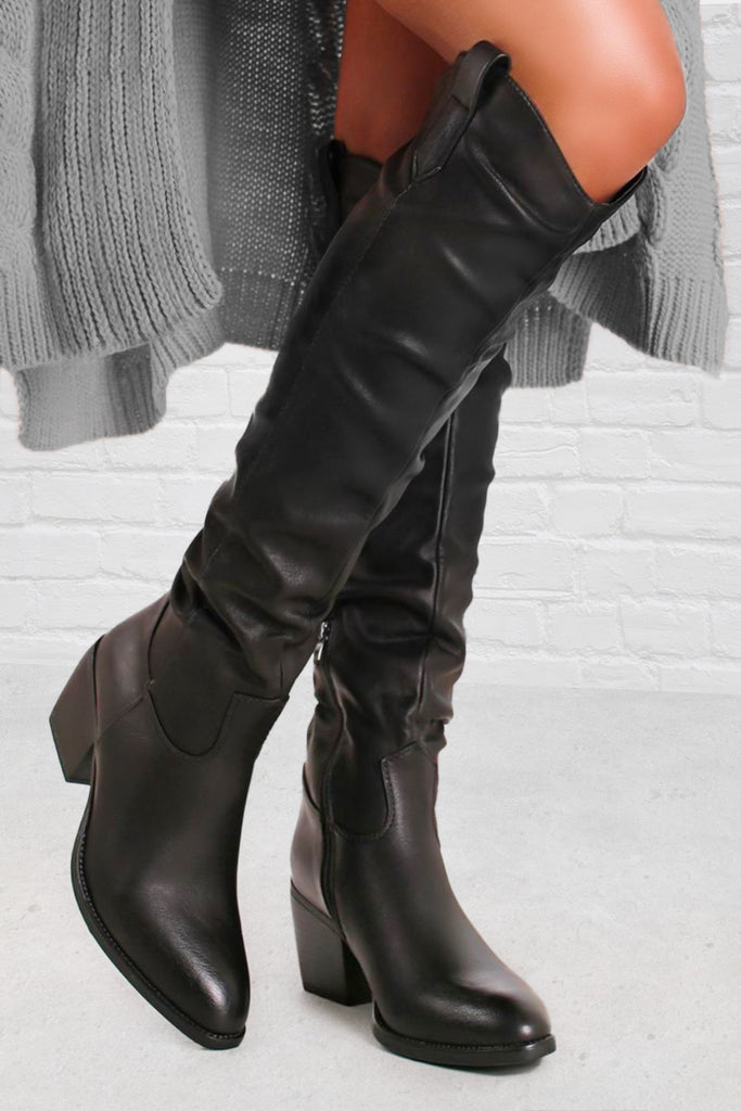 Vanessa Black Knee High Western Boots