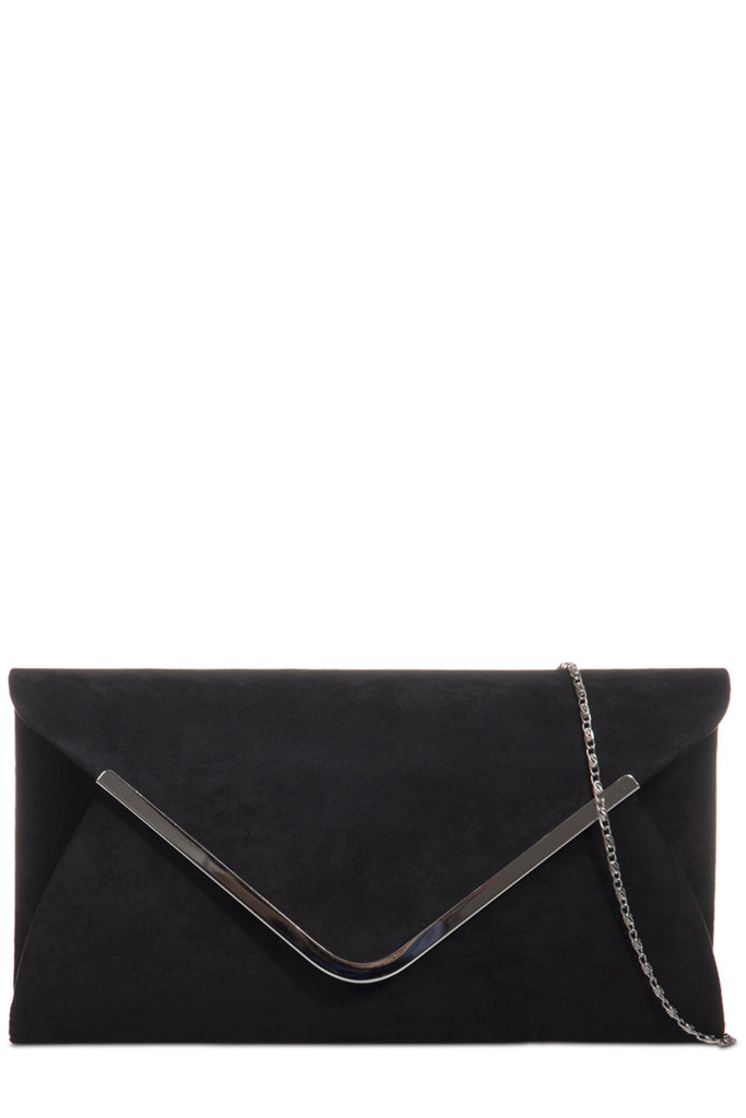 Vania Black Suede Envelope Clutch Bag