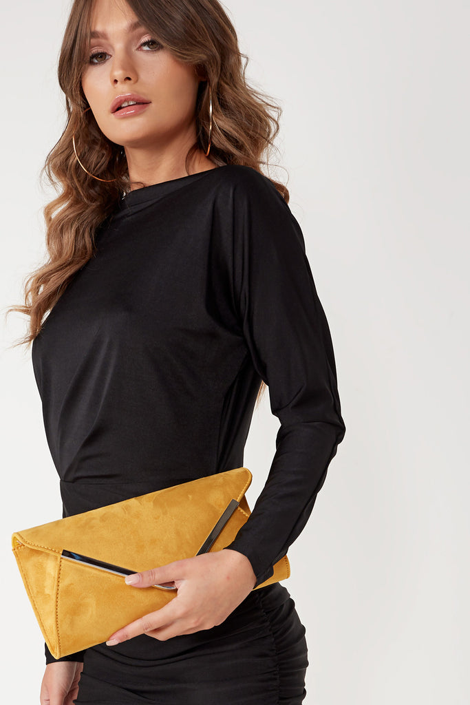 Vania Mustard Suede Envelope Clutch Bag (1617888247874)