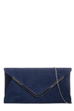 Vania Navy Suede Envelope Clutch Bag (18877317136)