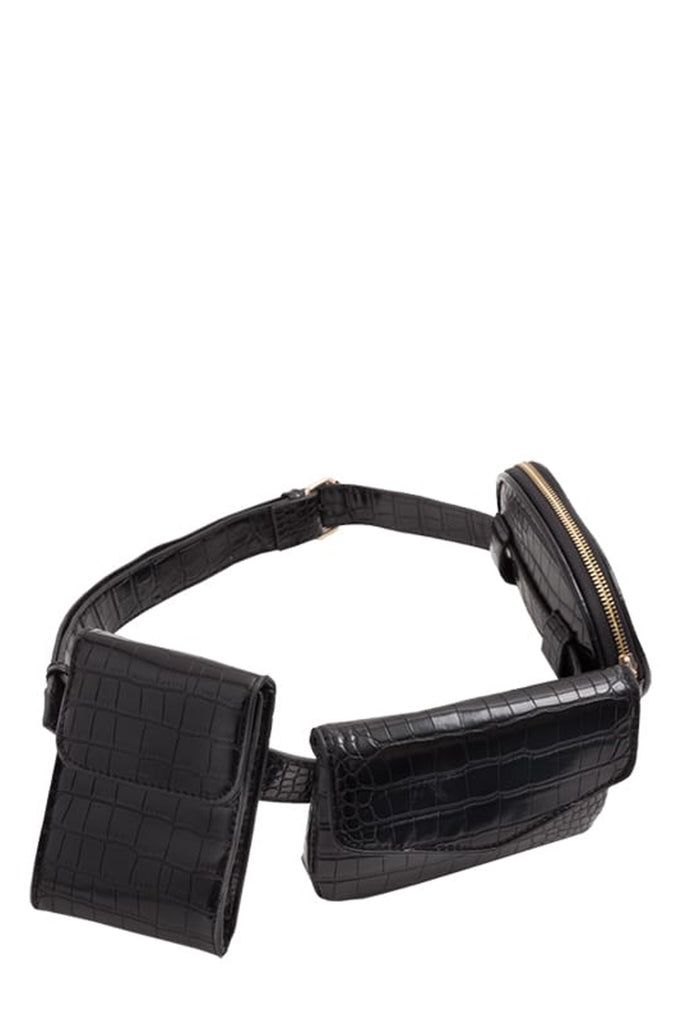 Vara Black Moc Croc Bum Bag