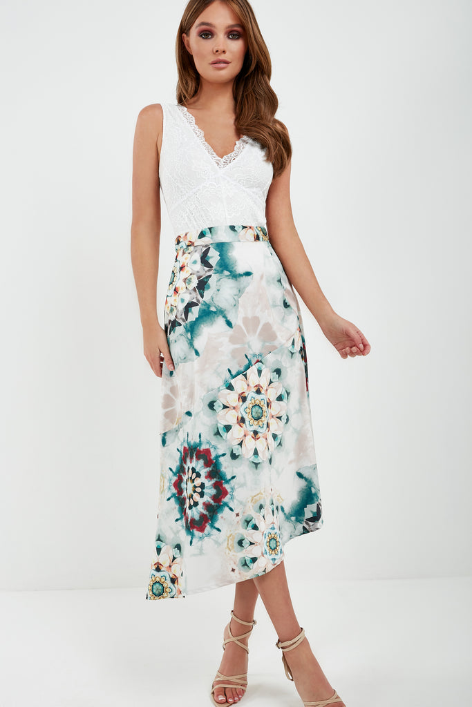 Veena Green Tie Dye Satin Asymmetric Midi Dress