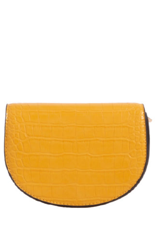 Vena Yellow Leatherette Small Satchel Bag