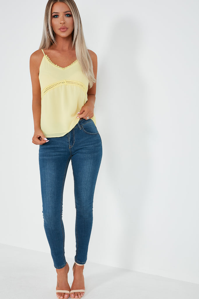 Verne Lemon Crochet Trim Camisole