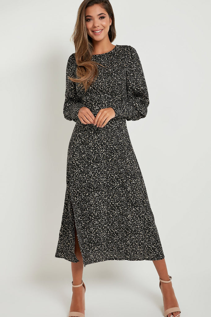 Victoria Black Printed Midi Dress