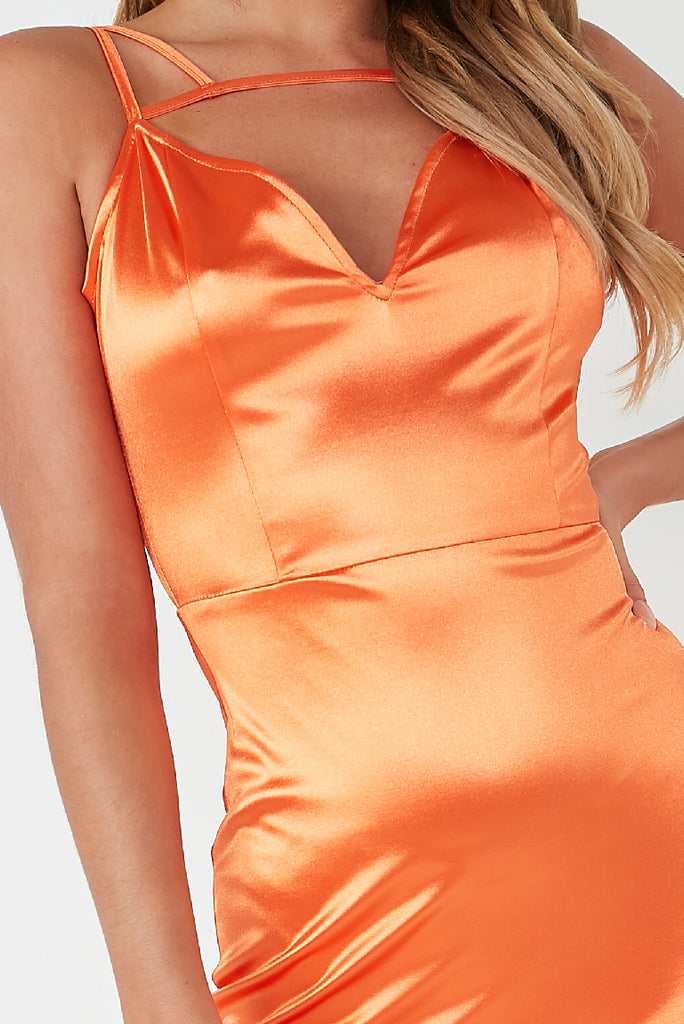 Victoria Orange Cage Satin Mini Dress
