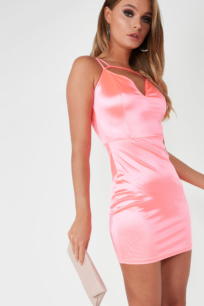 Victoria Pink Cage Satin Mini Dress