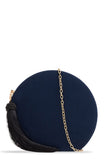 Vio Navy Suede Round Bag