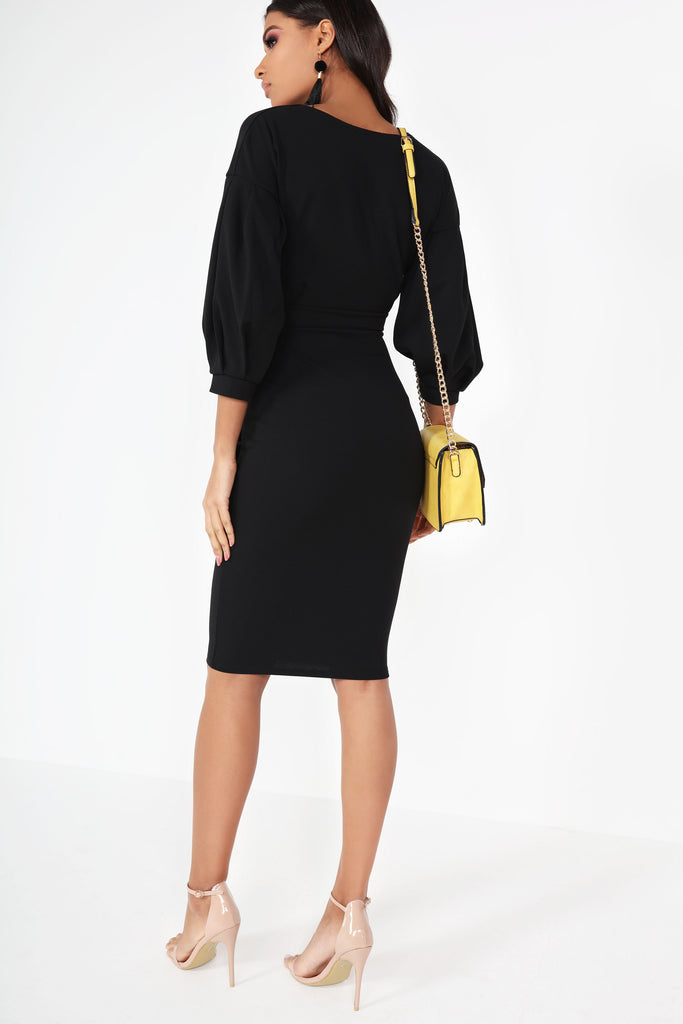 Violet Black Wrap Front Midi Dress
