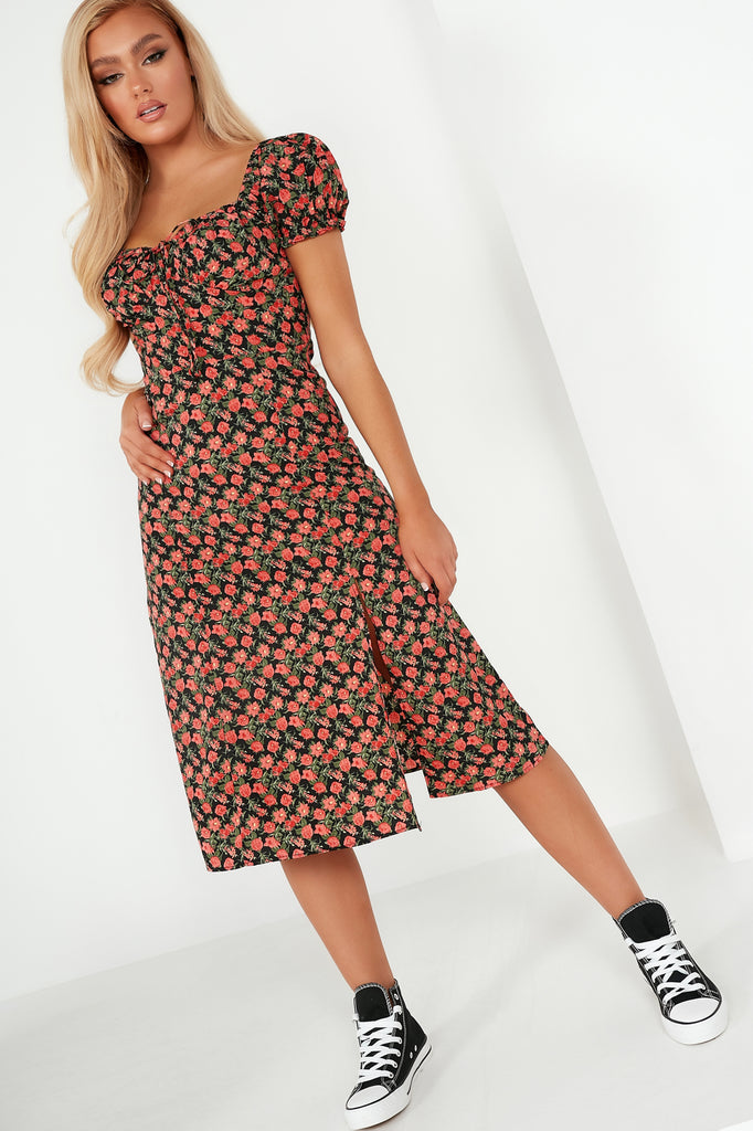 Viv Red Floral Milkmaid Midi Dress