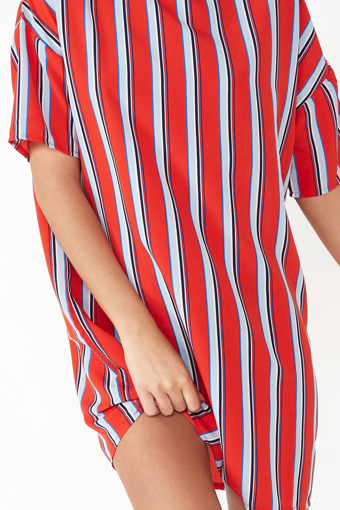 Wallis Red Striped T-Shirt Dress (1471811780674)