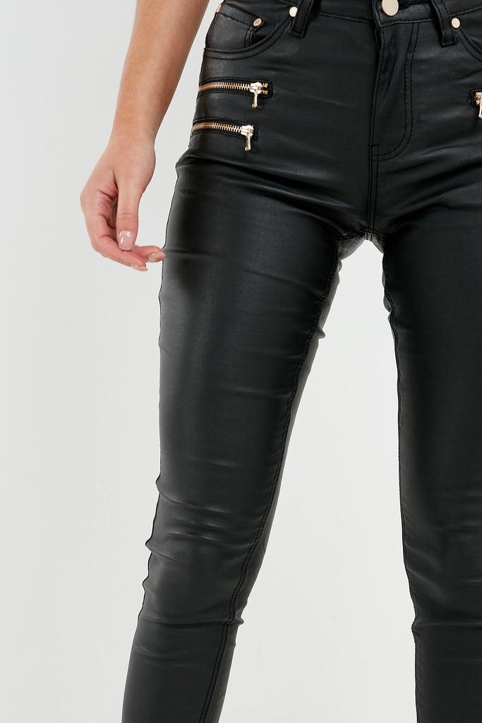 Wes Black Wax Gold Zip Trousers