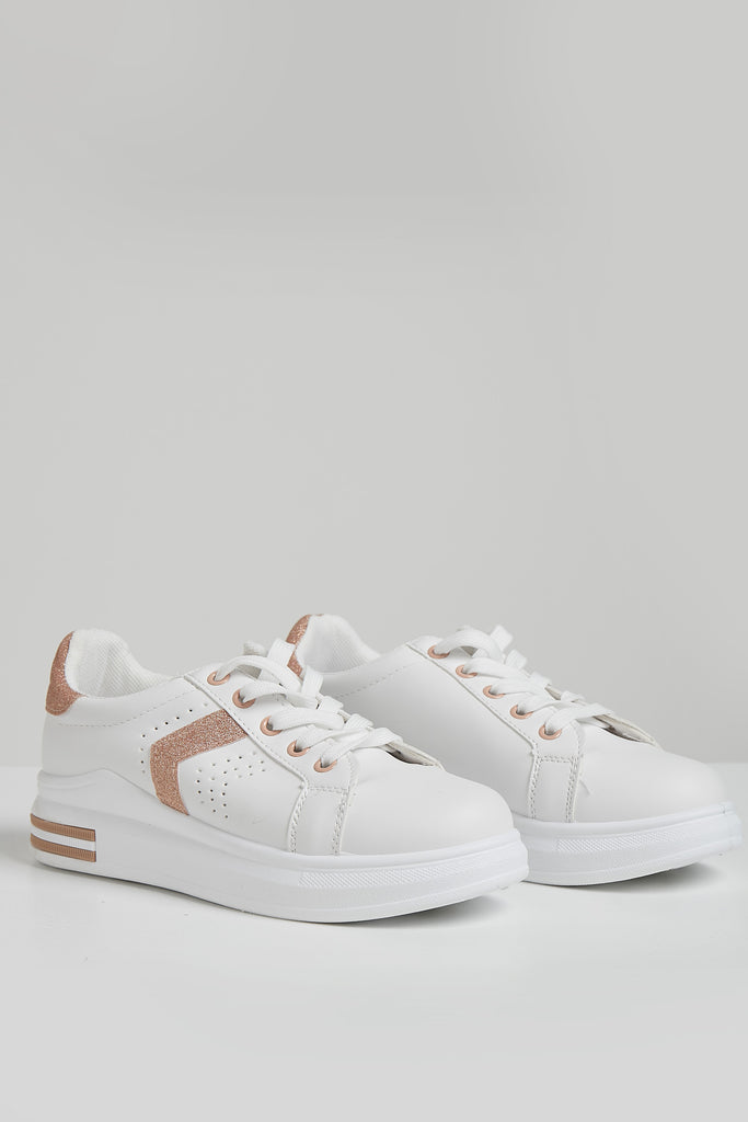 Whitney White Champagne Panel Trainers