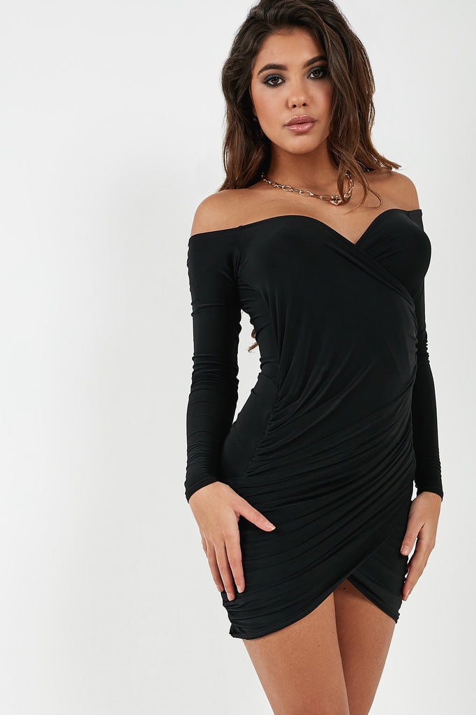 Willow Black Slinky Ruched Long Sleeve Dress (4361053929538)