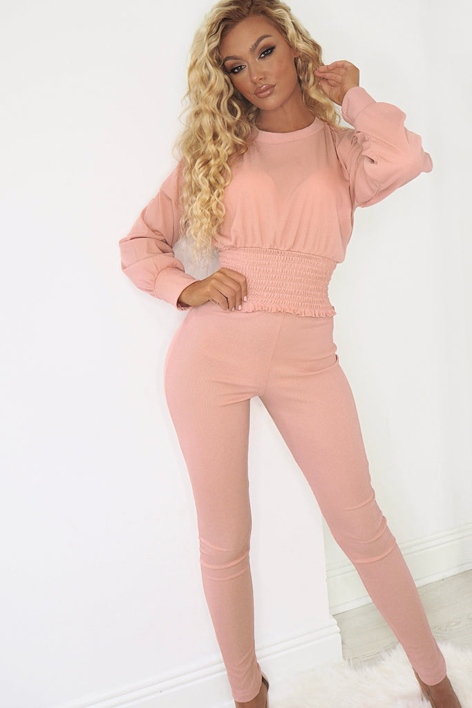Willow Blush Ribbed Shirred Waist Trouser Co Ord