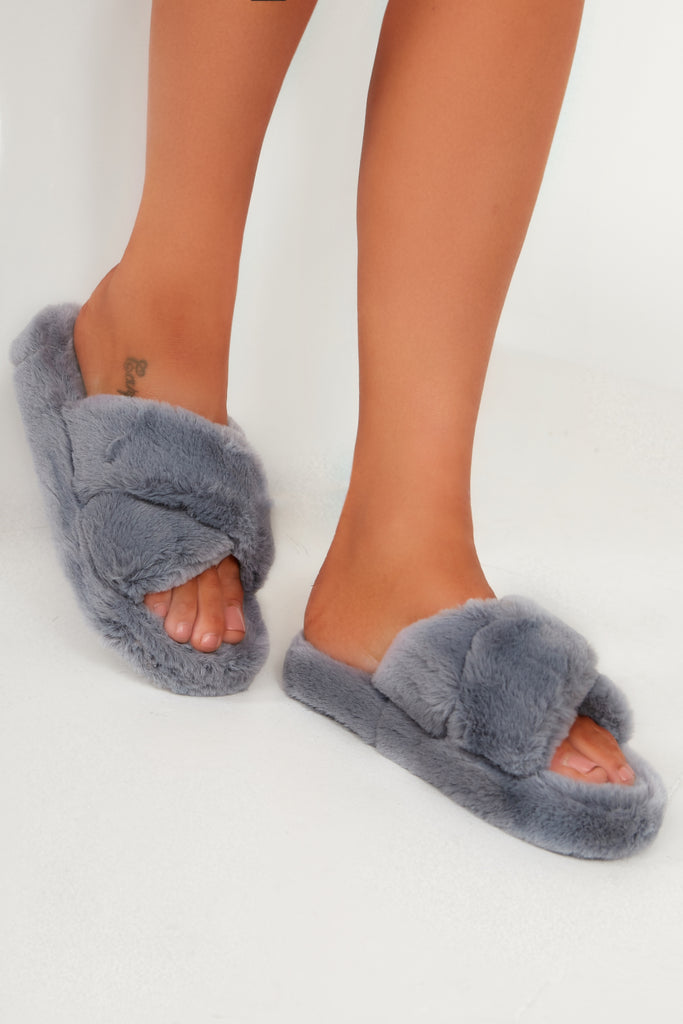 Willow Grey Fluffy Cross Front Slippers