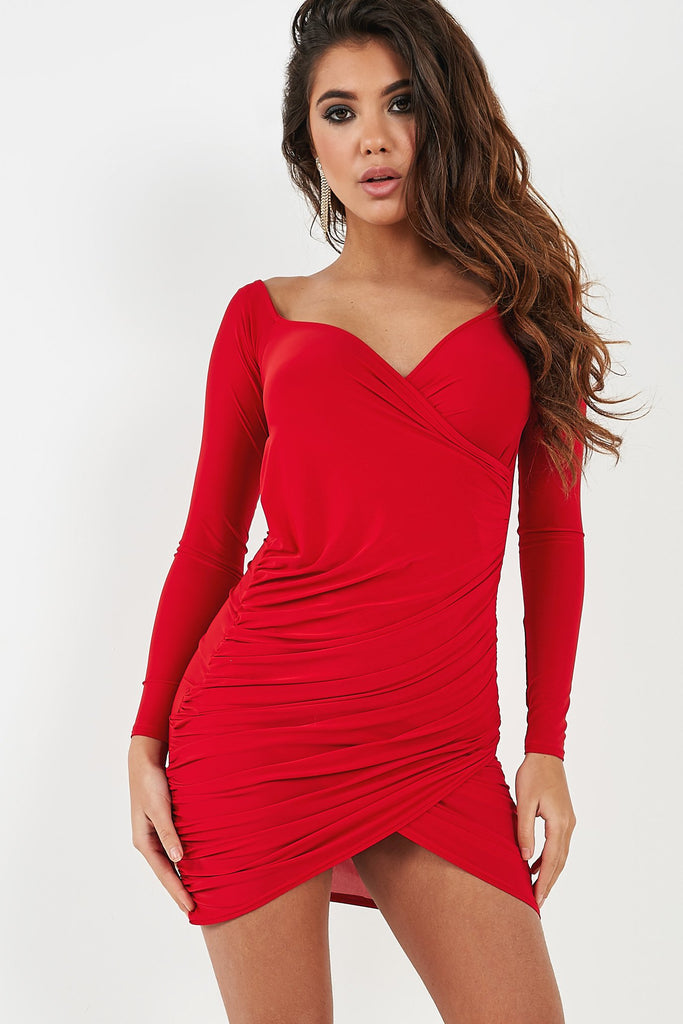 Willow Red Slinky Ruched Long Sleeve Dress (4361060745282)