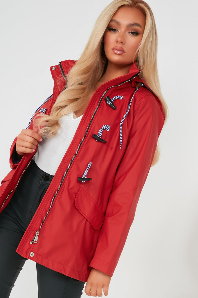 Wilma Red Hooded Rain Mac