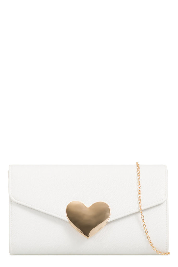 Wilma White Gold Heart Clutch Bag