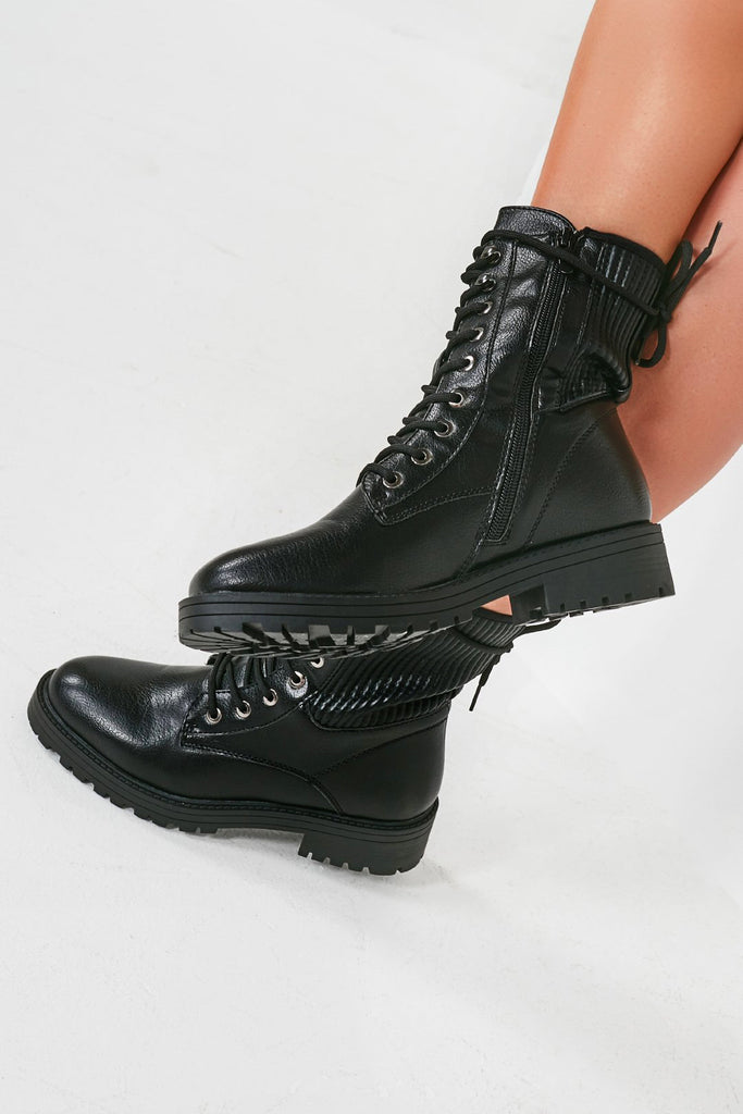 Winona Black Ribbed Panel Lace Up Biker Boots
