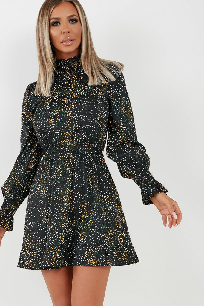 Wren Black Spotted High Neck Dress (4344830853186)