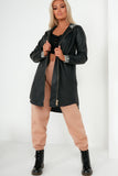 Wynn Black Faux Leather Aztec Hooded Coat