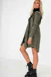 Wynn Khaki Faux Leather Aztec Hooded Coat