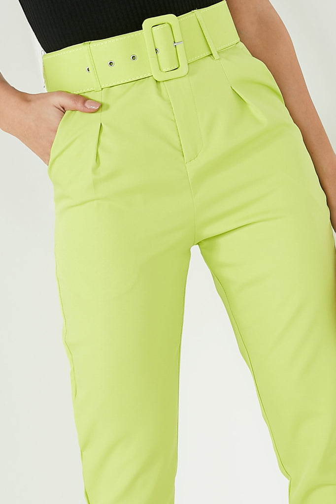 Wynne Lime High Waisted Tailored Trousers