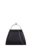 Xena Black Letherette Structured Clutch Bag