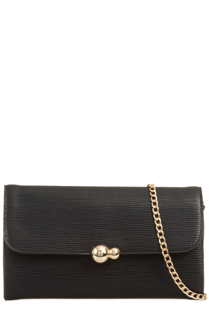 Yana Black Textured Faux Leather Clutch Bag (6207935109)