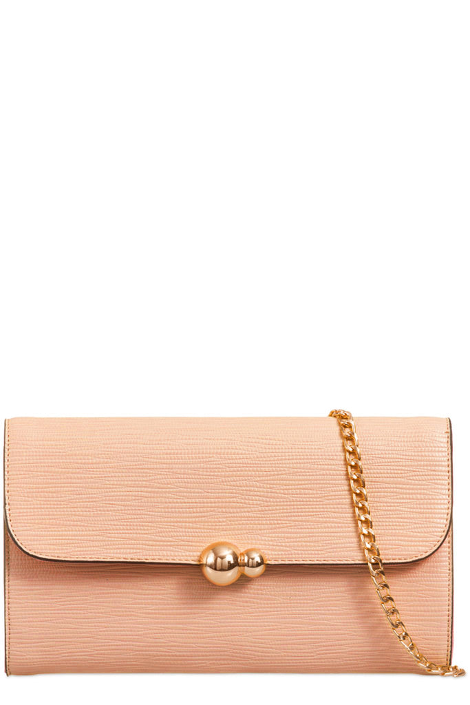 Yana Nude Textured Faux Leather Clutch Bag