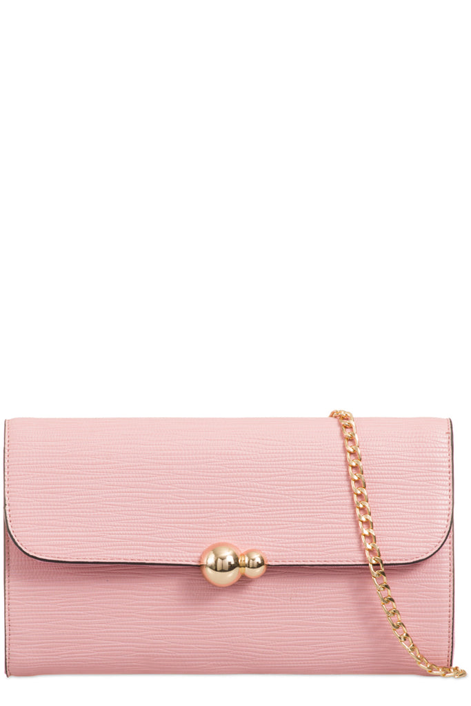 Yana Pink Textured Faux Leather Clutch Bag