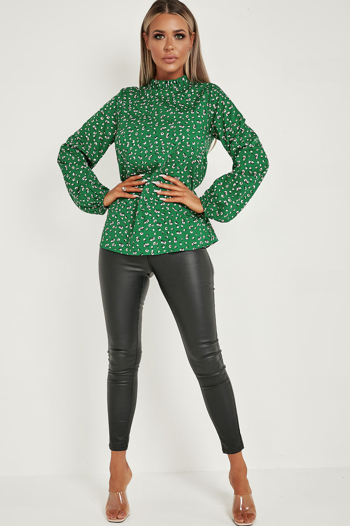 Yasmin Green Ditsy Print High Neck top