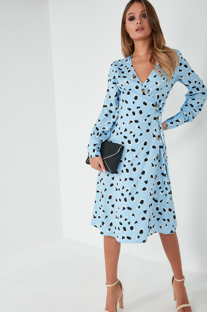 Yeola Blue Spotted Wrap Midi Dress