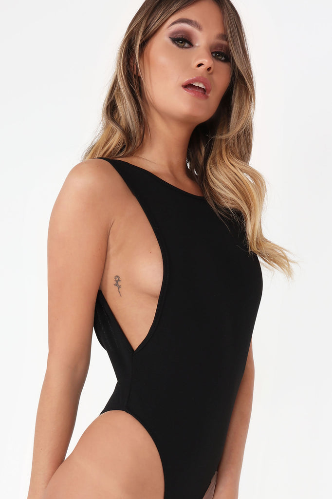 Yousha Black Side Boob Bodysuit