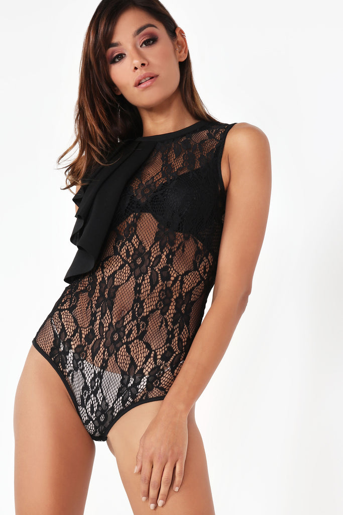 Yvonne Black Lace Frill Shoulder Bodysuit (96978632720)