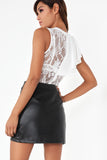 Yvonne White Lace Frill Shoulder Bodysuit