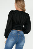 Zadie Black Satin Puff Sleeve Crop Top