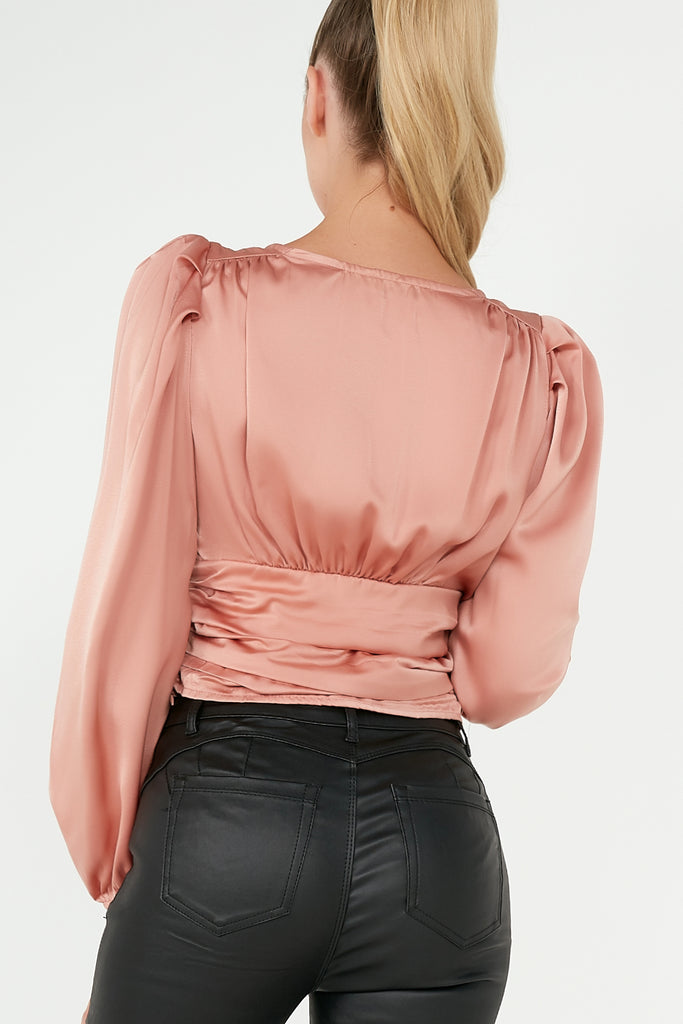 Zadie Pink Satin Puff Sleeve Crop Top