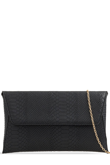 Zana Black Mock Croc Clutch