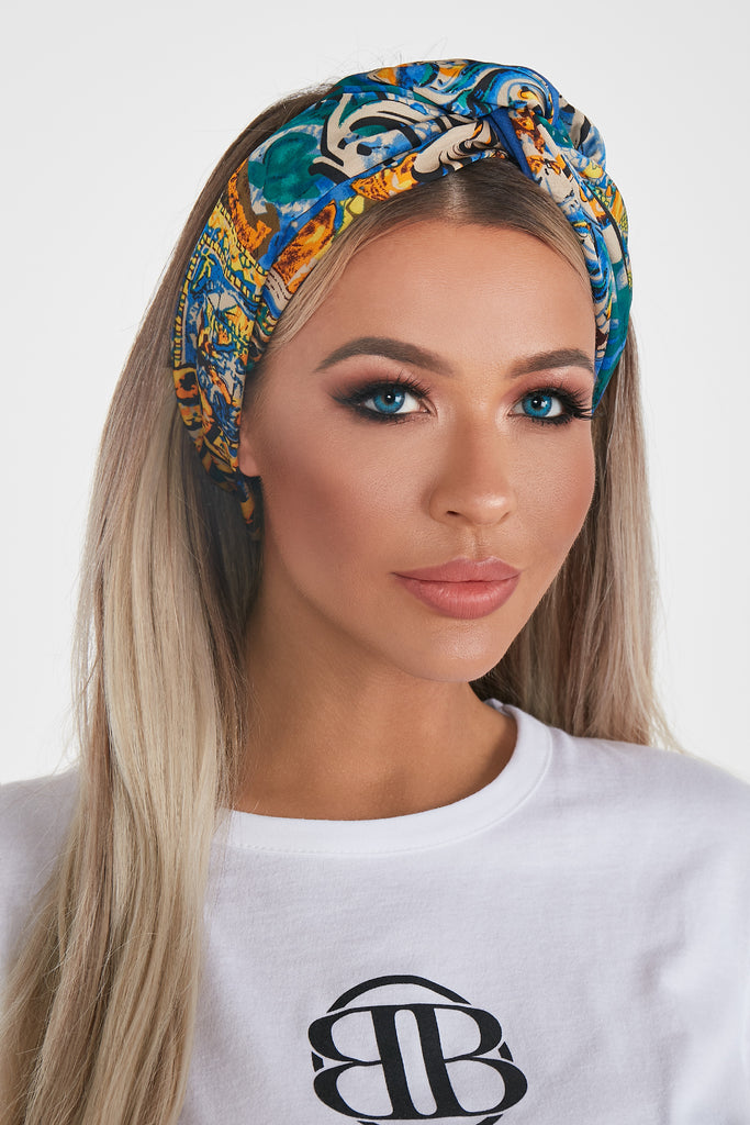 Zara Blue Multi Print Headband