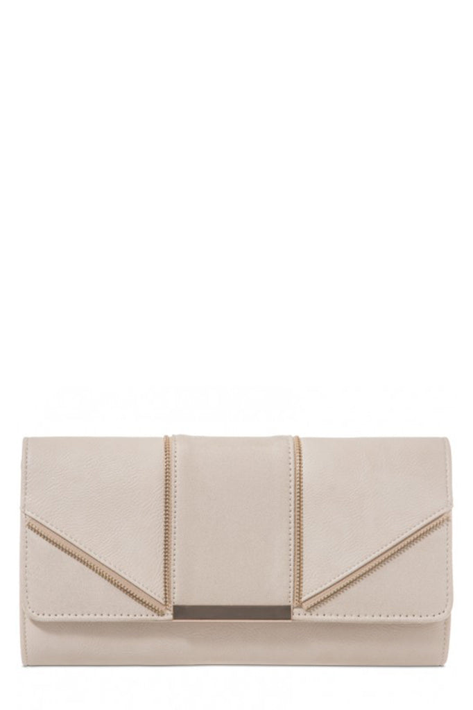 Zavina Beige Zip Detail Clutch Bag