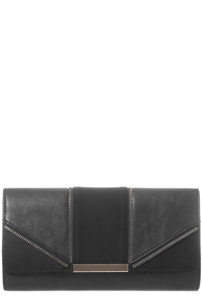 Zavina Black Zip Detail Clutch Bag (6207953157)