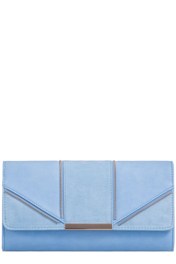 Zavina Blue Zip Detail Clutch Bag