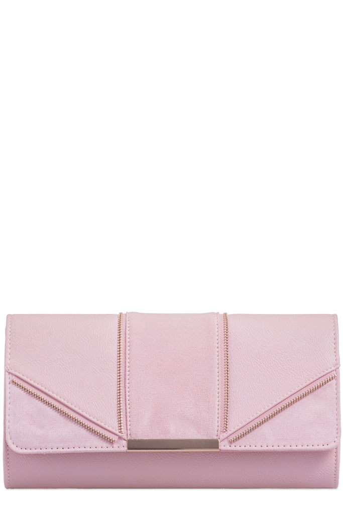 Zavina Blush Zip Detail Clutch Bag