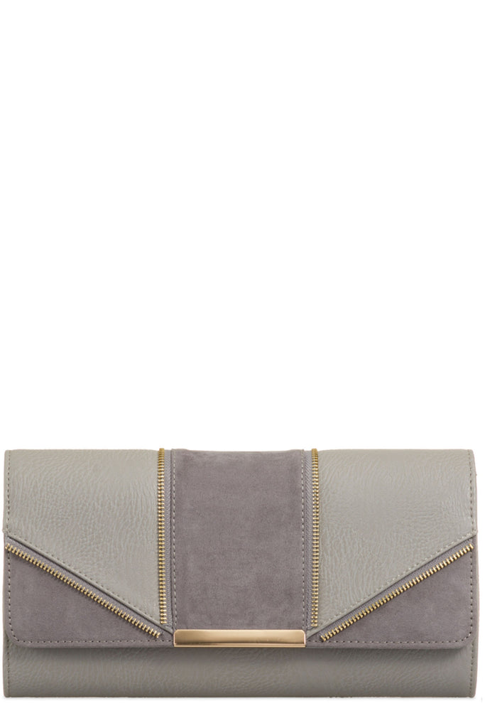 Zavina Charcoal Zip Detail Clutch Bag (6207943557)